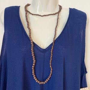 Jewelry - Boho Style Wrap Brown Wooden Bead Necklace